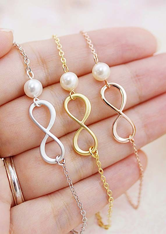 Infinity with Swarovski Pearls necklace from EarringsNation Bridesmaid gifts bridesmaid necklace forever