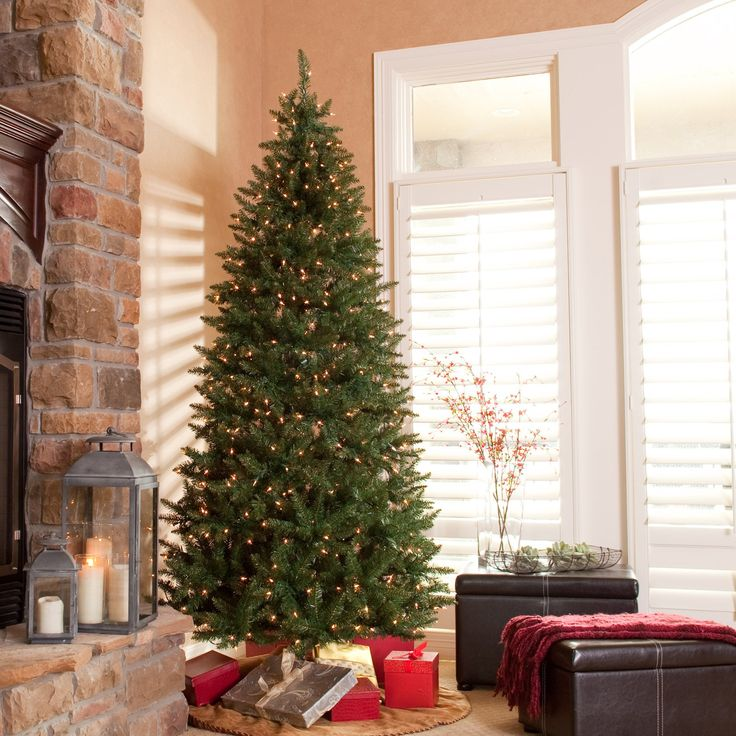 120 classic pine slim prelit christmas tree add a warm festive feel to - Prelit Christmas Tree