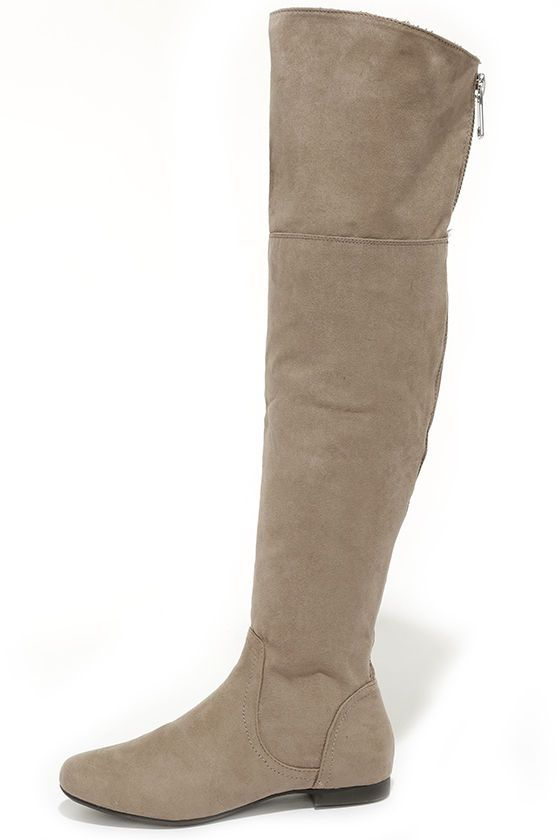Soft Speaker Taupe Suede Over the Knee Boots