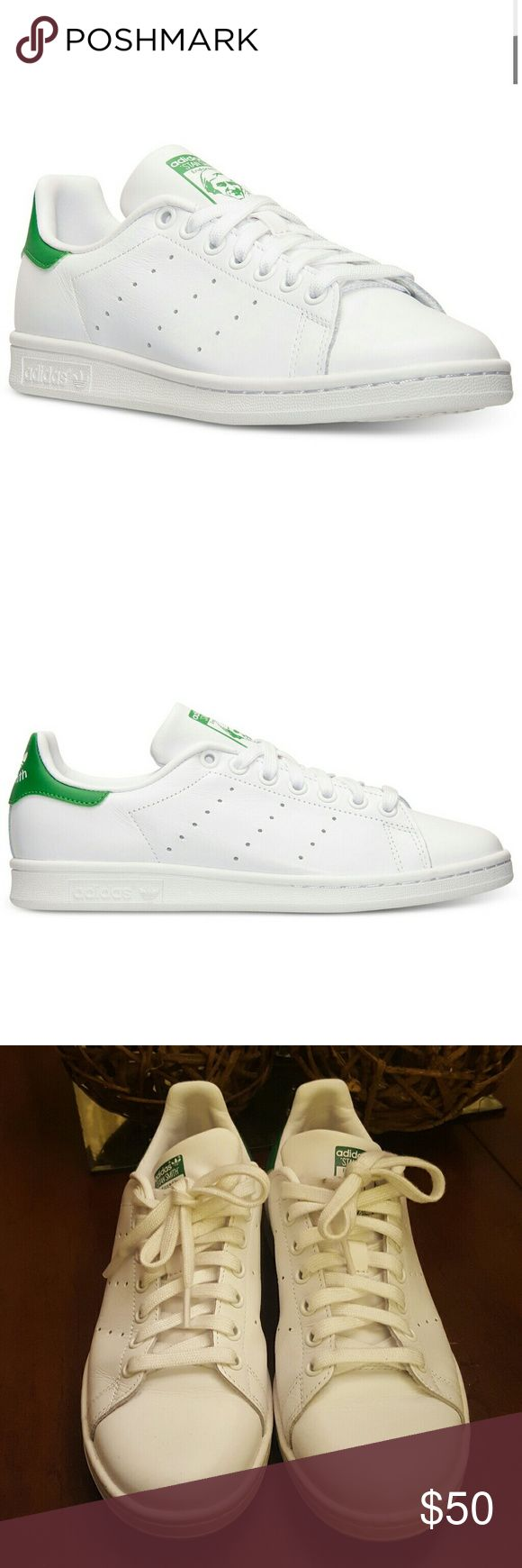 Adidas Stan Smith Sneakers Adidas Stan Smith sneakers in classic white with green accents. Original colorway. Excellent condition with a few scuffs here and there; light stains at entry of shoe and on shoestrings but highly likely able to be removed with proper cleaning. Worn less than seven times! Adidas Shoes Sneakers