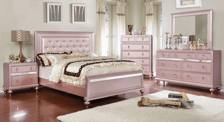 Ariston Rose Gold Bedroom Set Rose Gold Bedroom Bedroom Furniture Sets Gold Bedroom