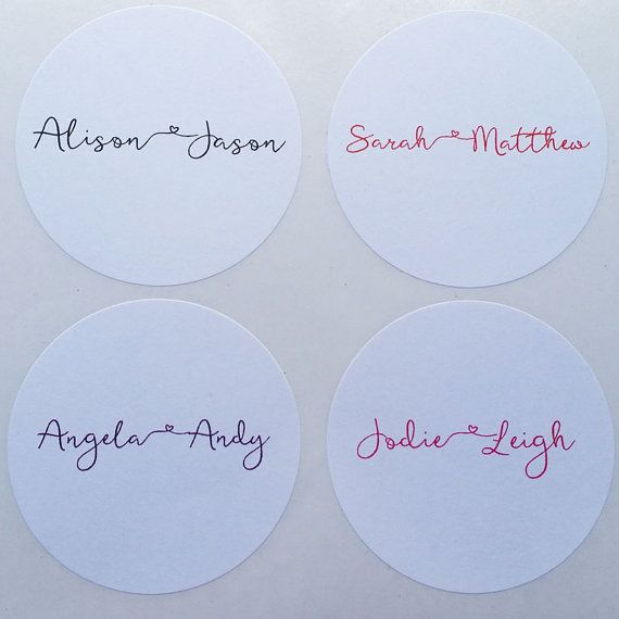 48 x Personalised Coloured Names 45mm Matte White Stickers