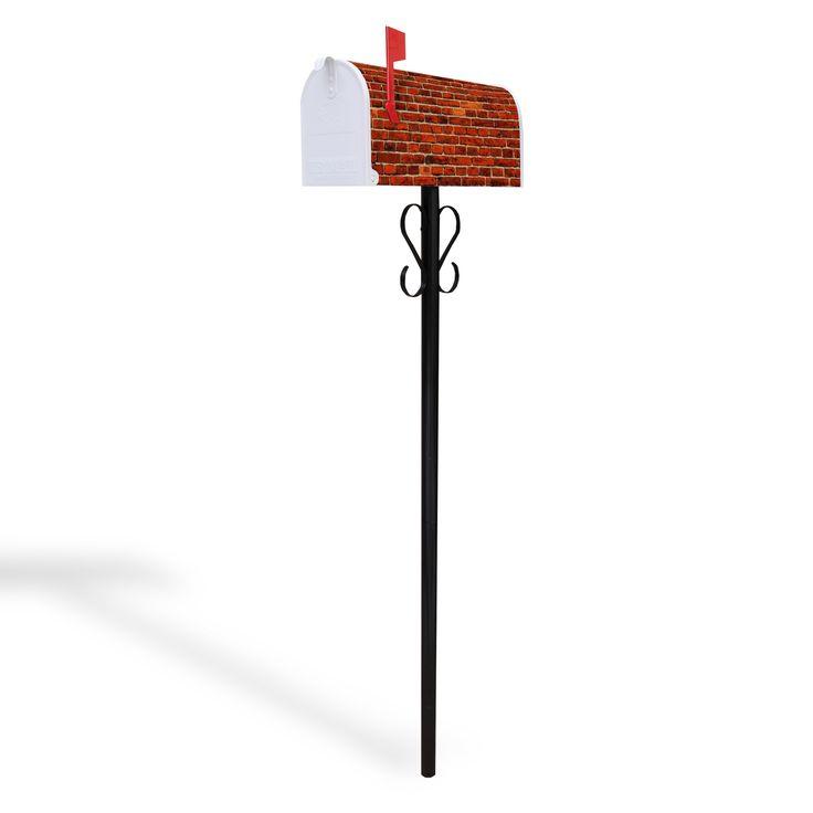 Amerikanischer Briefkasten Standfuß schwarz Ziegelwand #banjado #Mailbox #Briefkasten #Standbriefkasten