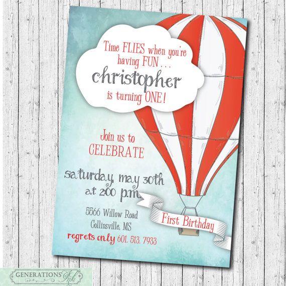 Hot Air Balloon Birthday Invitation Time por GenerationsInk en Etsy