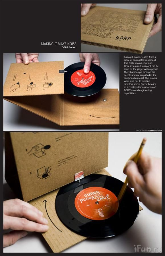 (from MintDigital blog: mintdigital.com/...)  A cardboard turntable from GGRP -   Made from a single piece of cardboard, an album cover envelope opens up into a working record player, complete with a 45 rpm vinyl disc. The record recounts GGRP's musical history through a children's story, and can be played by using a pencil to spin the disc, while the cardboard material naturally amplifies the sound.