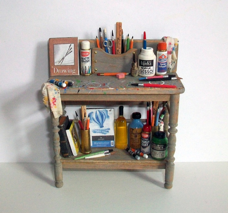 Miniature Artist Work Bench (1 inch dollhouse scale)