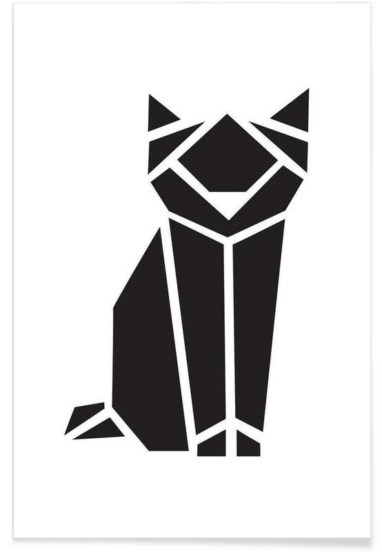 JUNIQUE Origami Katze als Premium Poster