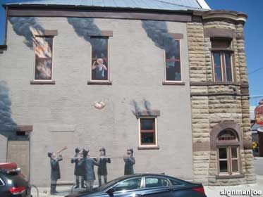 Save the Cat fire mural. Firehouse BBQ and Blues Restaurant N. D St., Richmond, IN