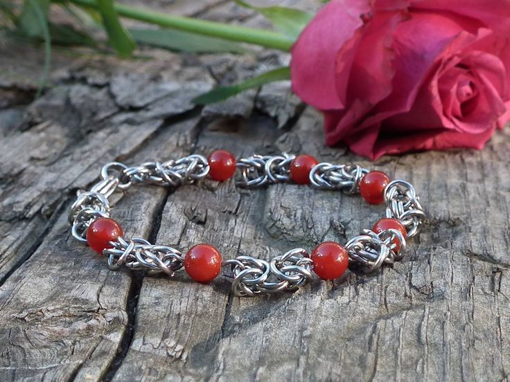 Kings chain bracelet with red Agate, stainless steel jewelry, Viking bracelet by LisMGallery on Etsy