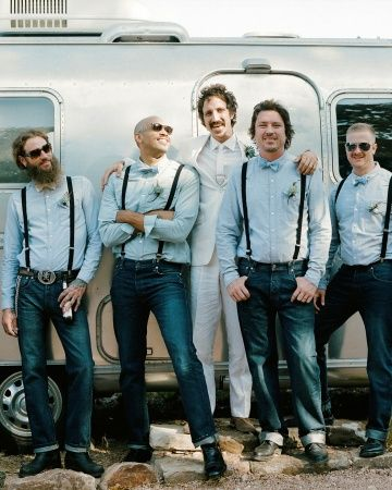 Jeans and suspenders are dressed up a bit with handmade reversible bow ties: Groomsman Attire, Bow Ties, Wedding Ideas, Weddings, Google Search, Casual Groomsmen Attire, Suspenders, Photo, Groomsmen Outfit