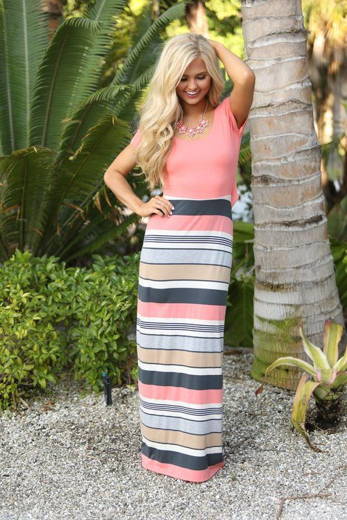 Let Your Light Shine Maxi Dress Coral - The Pink Lily