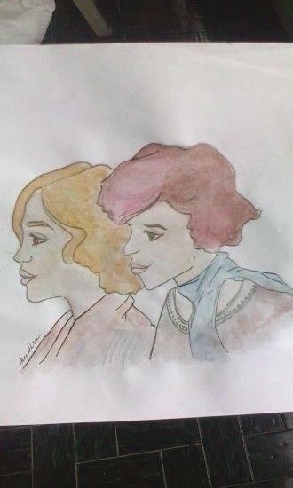 The danish girl watercolor drawing