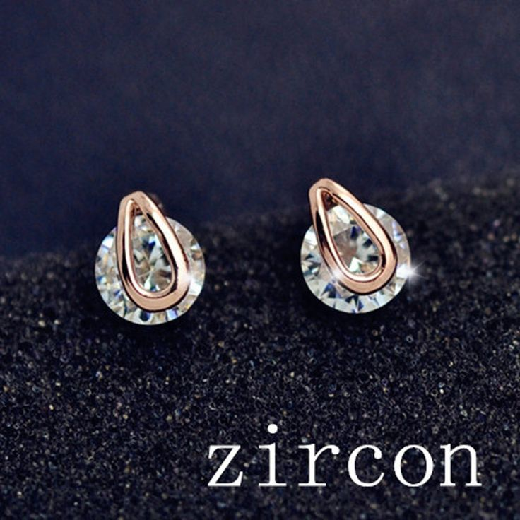 Recommendation Wholesale New Fashion real gold plated filled with CZ zircon round stud Valentine's Day gift for women girl E2523