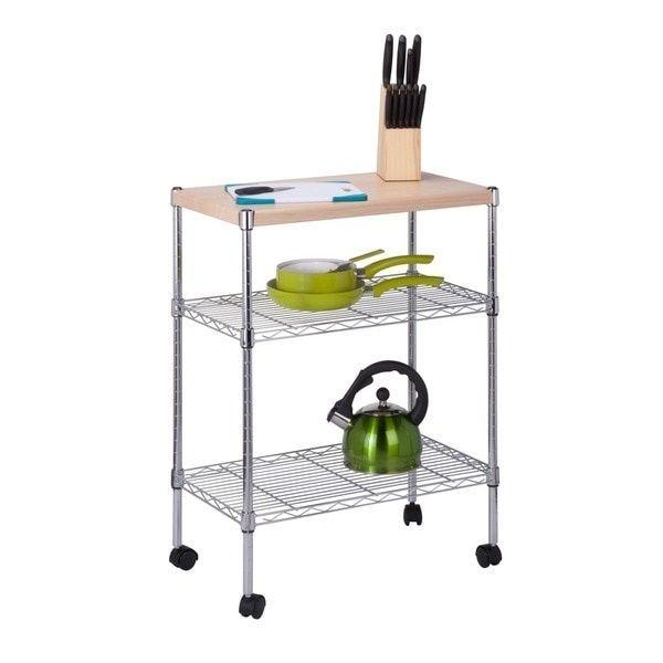 "Honey-Can-Do Chrome Utility Cart 3 Tier Wooden Top Portable On Wheels 29.53"" H #HoneyCanDo"