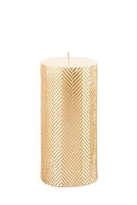 CARVED CHEVRON PILLAR CANDLE, 7X14CM