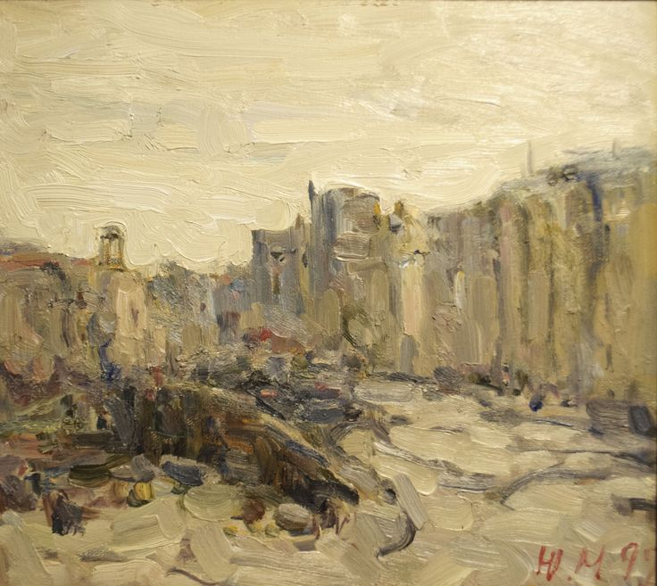 "Malanenkov Yuriy  ""Bolshoy Kamenny Bridge"" Oil on canvas 45х50 cm 1999."