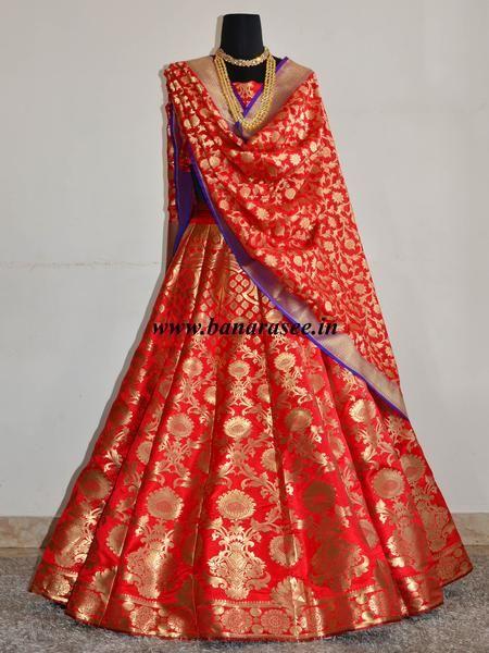 Banarasee/Banarasi Handwoven Art Silk Unstitched Satin Lehenga & Blouse Fabric-Red