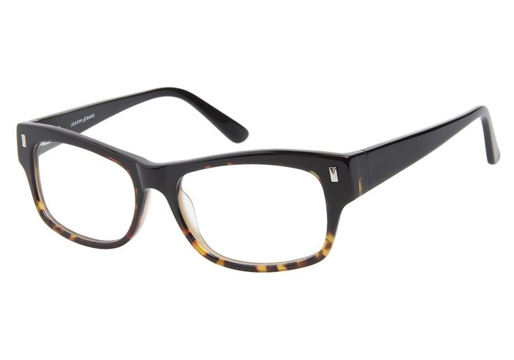 These Joseph Marc 4111 Black Tortoise eyeglasses are funky and cool. This full acetate frame has a glossy black finish with a tortoise accent on the bottom. The glasses are adorned with a silver stud from @CoastalDotCom