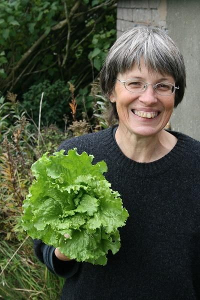 Freegle GYO Project: Caz Walker with her home-grown lettuce (local resource efficiency)