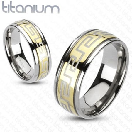 Polished Titanium Band with Gold IP Greek Key Design http://lily316.com.au/shop/collection/mens-titanium-band-ring-with-gold-maze-design/