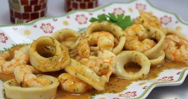 Sencillo, ligero, delicioso, que más se puede pedir?? Calamares en salsa de langostinos con Thermomix.