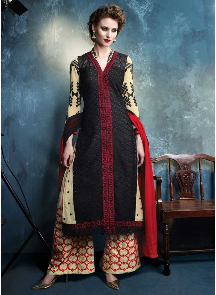 Dazzling Cream And Black With Embroidery Work Pakistani Dress. Pair With Santoon Inner,Bottom And Nazneen Dupatta.  http://www.angelnx.com/Salwar-Kameez/Pakistani-Suits/dazzling-cream-and-black-with-embroidery-work-pakistani-dress_10431