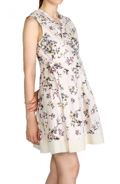 Robe beige Mon Hanbok, imprimé floral en lin, encolure plissée, nœud, organisa.