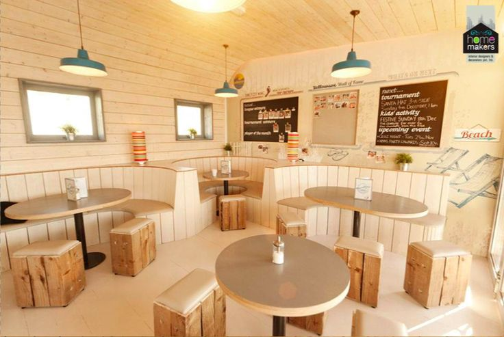 A nice, calm and soothing coffee shop.  Beige is a soft neutral color that isn't quite white and has some of the earthiness of light browns. Beige represents quiet, pleasantness with a touch of luster. As a neutral, beige is a calming color. It carries some of the same pureness, softness, and cleanliness of white but is slightly richer, a touch warmer.  For more, kindly visit us at www.homemakersinterior.com