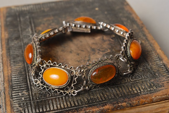 if only i had a credit card...vintage sterling silver filigree bracelet w baltic amber