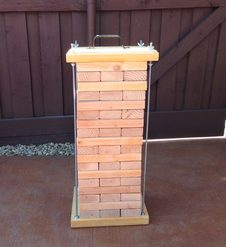 "Homemade life sized Jenga set - 2x4 boards cut into 10.5"" pieces - 54 boards total"