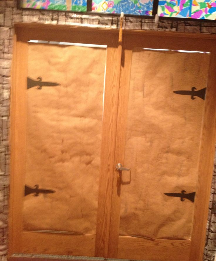 """Brown dry-brushed paper with sticky-foam """"hardware"""" for castle doors  with a few changes, get doors for bethlehem"""