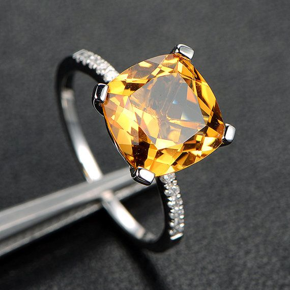 10mm Cushion Cut Citrine Engagement Promise Ring with Diamonds,14K White Gold on Etsy, $299.00