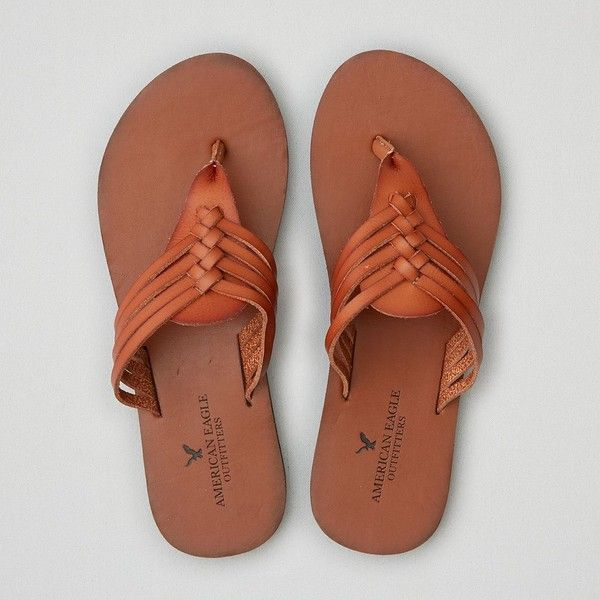 AE Huarache Flip Flop ($19) ❤ liked on Polyvore featuring shoes, sandals, flip flops, neutral, tan sandals, tan flip flops, hurache sandals, huarache sandals and huaraches shoes