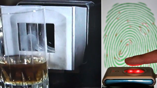 Fingerprint scanners appeared in Diamonds are Forever (1971). Now you can literally buy your own biometric scanner on Amazon!