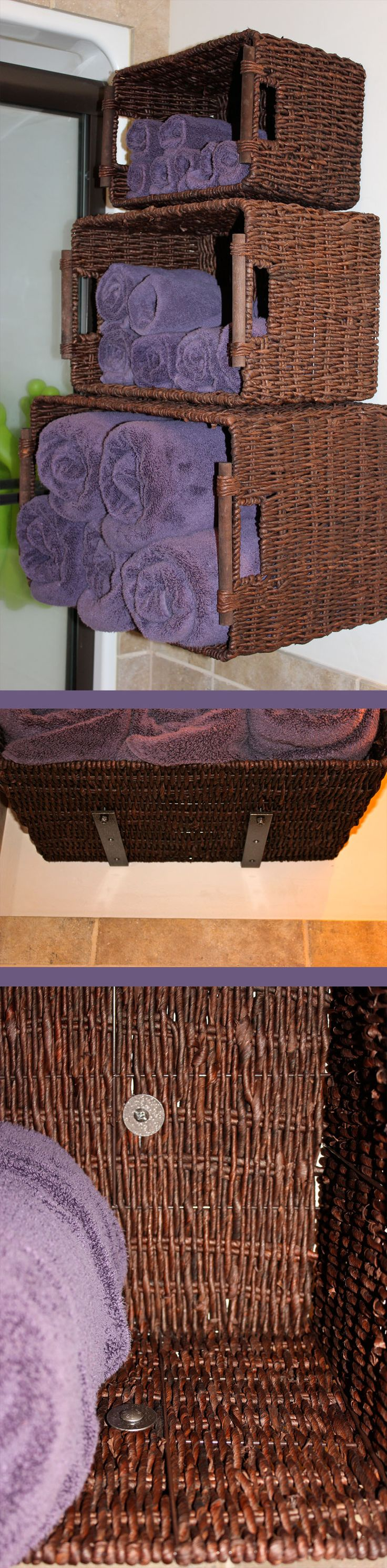 Basket shelving for bathroom-under $50 project. I got the baskets half price at Hobby Lobby. I spray painted the brackets, screws, washers and nuts oil rubbed bronze. To attach the baskets to the wall securely, use wall anchors to mount the brackets to the wall first. Then wiggle the screw with the washer through the wicker and drill it into the other hole in the bracket. Use a nut with a washer to secure the bottom of the basket to the bracket. Washers are a must to prevent wicker damage.
