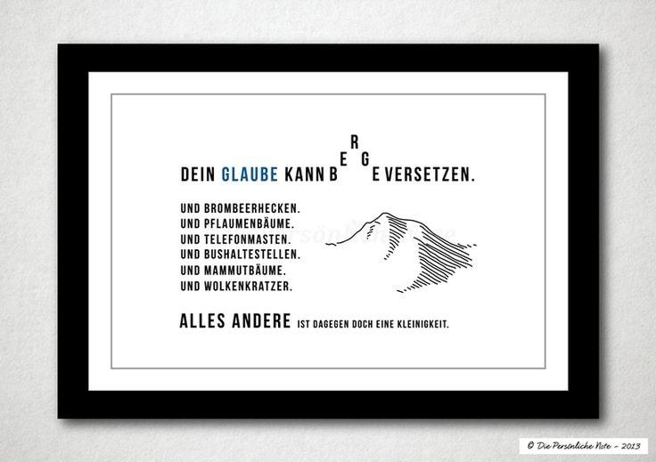 Druck/Wandbild/Print: Berge versetzen? - Na, klar! von Die Persönliche Note auf DaWanda.com