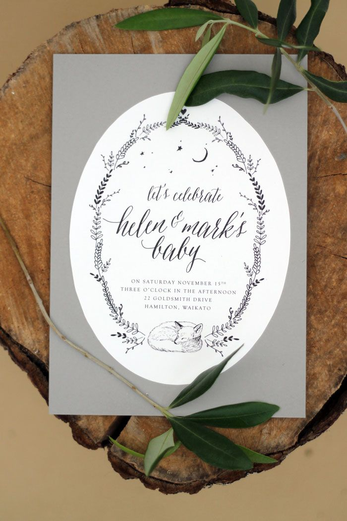 Just My Type Sleeping Woodland Fox Illustration Baby Shower invitation Stationery Suite