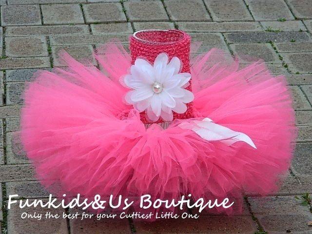 Pink Newborn Tutu Skirt- Full and fluffy deep pink tutu - Birthday,