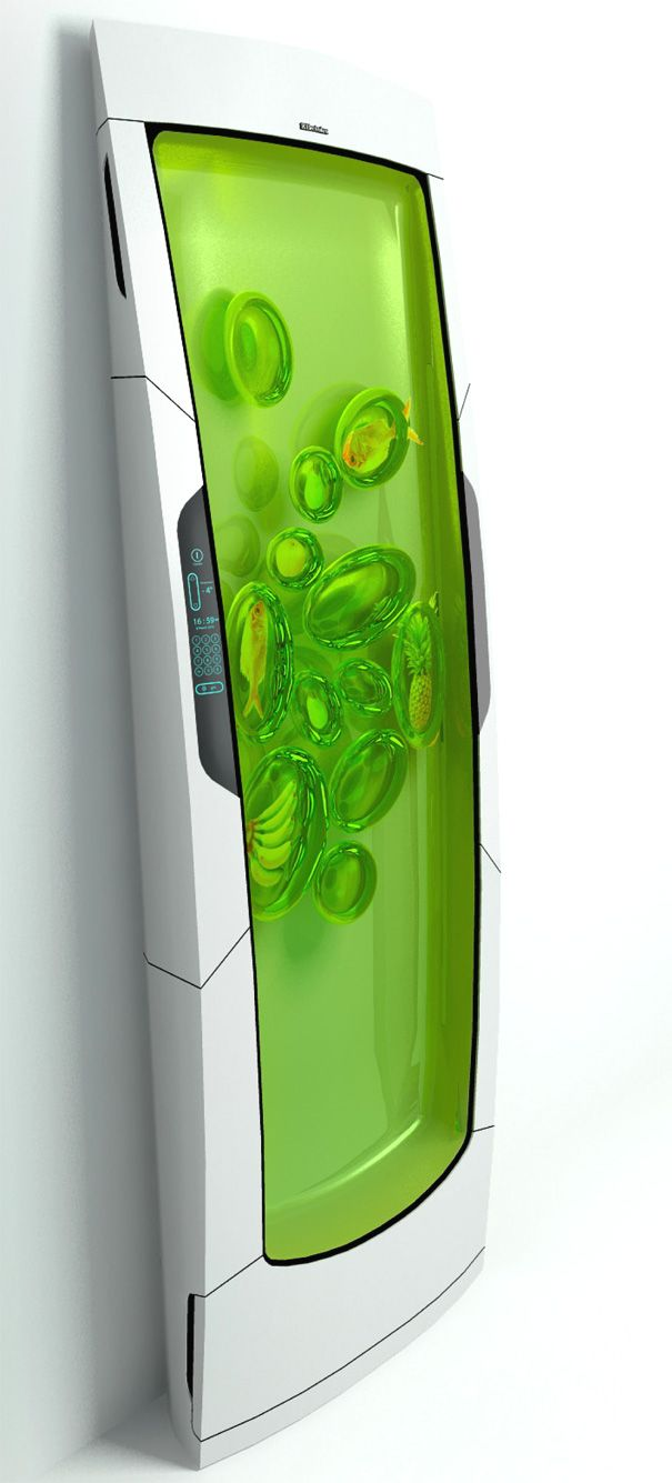 This fridge is a concept where the Bio Robot cools biopolymer gel through luminescence. A non-sticky gel surrounds the food item when shoved into the biopolymer gel, creating separate pods. The design features no doors or drawers, and the food items are individually cooled at their optimal temperature thanks to the robot.