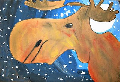 moonlit moose - awesome lesson on tints and shades gradation for the background!