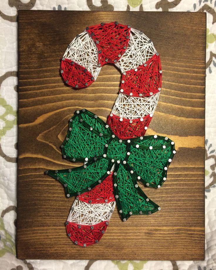 Candy Cane Christmas String Art- Order from KiwiStrings on Etsy! ( www.KiwiStrings.etsy.com )