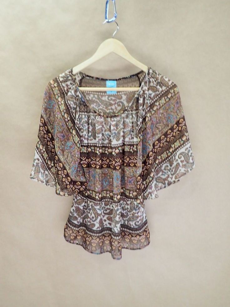 Womens Boho Flowing Blouse Brown Paisley h.i.p. Happening In the Present Small  #hiphappeninginthepresent #Blouse #Casual