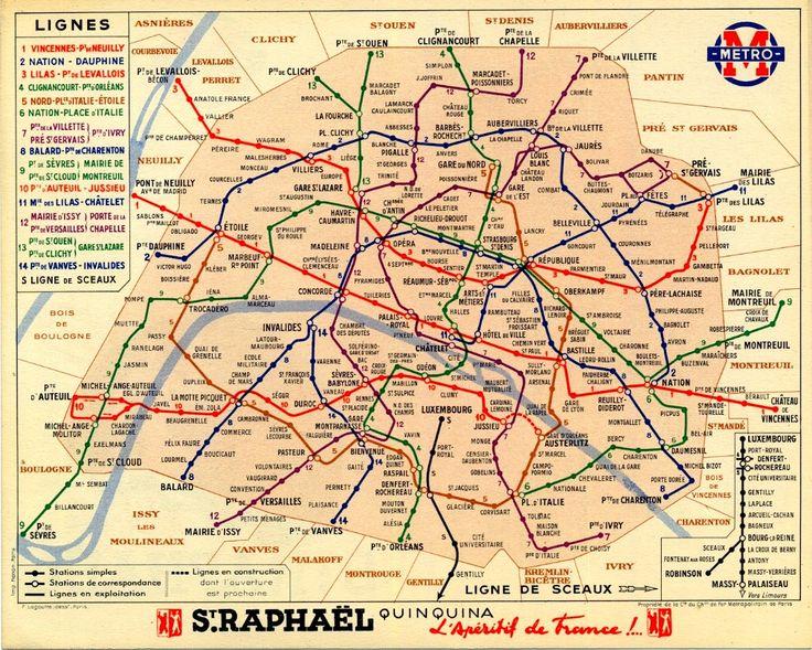 Paris vintage metro map from 1939 – Metro Map in Paris