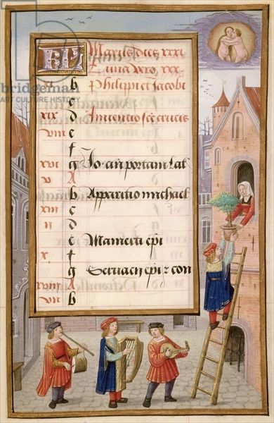 "MusicArt📜  ""Young Man and Musicians Serenade a Lady"".  Illuminated calendar page for May, from a Flemish Book of Hours, c.1500 (vellum). Ms 1058-1975 f5r. Flauta y tamboril, arpa y laúd."
