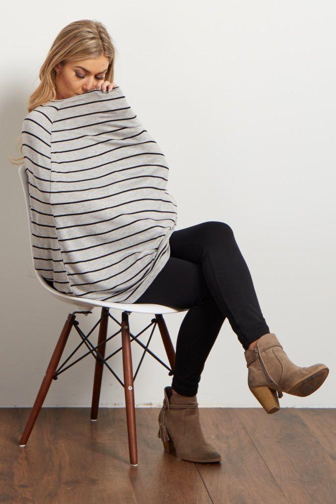 Grey-Striped-Nursing-Cover/Scarf