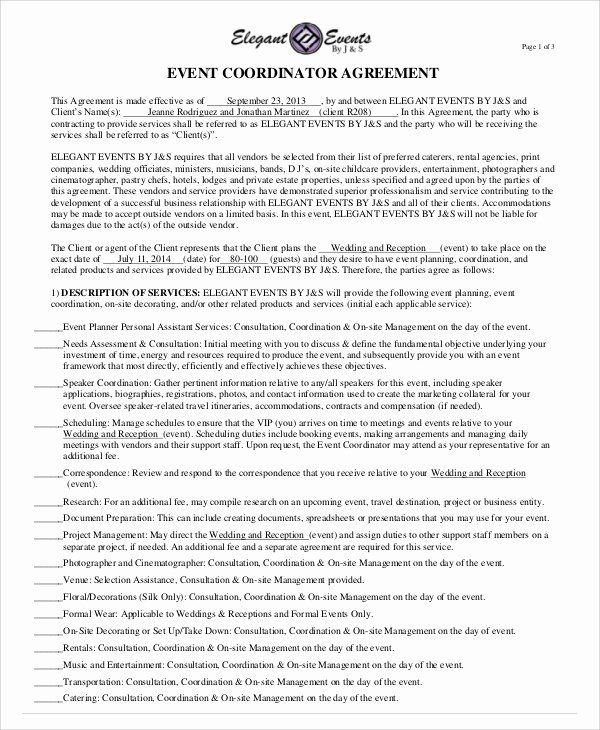 Wedding Coordinator Contract Best Of Sample Event Contract Agreement 10 Examples In Word Pdf Event Planning Contract Event Planning Template Contract Agreement