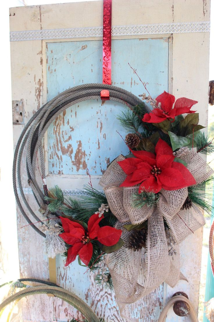 Rustic Rope Christmas Wreath With Burlap Bow And