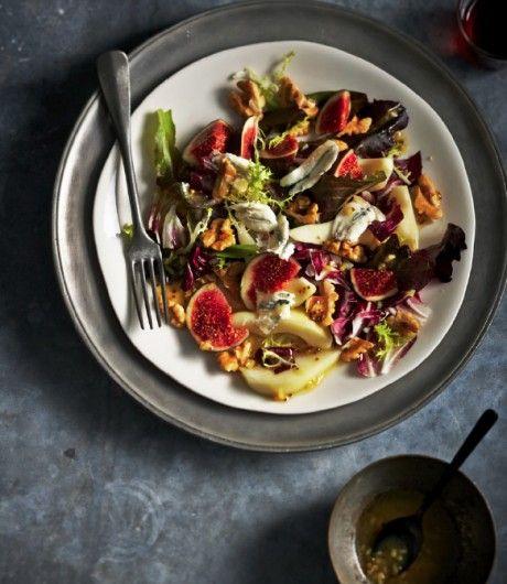 Salade met verse vijgen, peer, noten en zoetige citroendressing - JAN Magazine