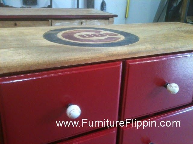 The Making Of The Coolest Chicago Cubs Dresser of All Time. Chicago Cubs Baseball Nursery - Created by Furniture Flippin'. www.FurnitureFlippin.com
