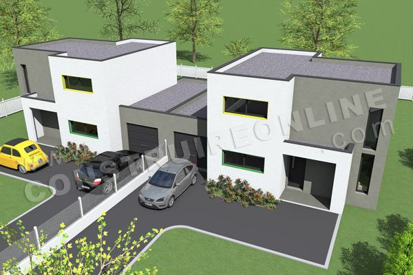 plan de maison mitoyenne par garage